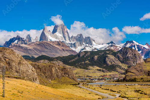 Road to El Chalten and panorama with Fitz Roy mountain at Los Glaciares National Park