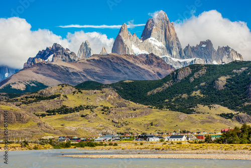 River near El Chalten and panorama with Fitz Roy mountain at Los Glaciares National Park