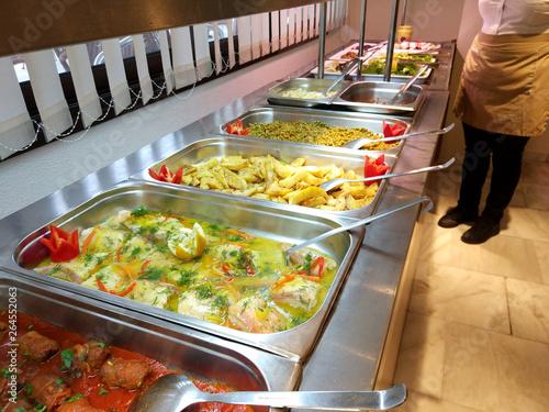 Fotomural Greek cuisine buffet food in a hotel restaurant