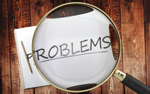 Study, Learn And Explore Problems - Pictured As A Magnifying Glass Enlarging Word Problems, Symbolizes Analyzing, Inspecting And Researching The Meaning Of Problems, 3d Illustration