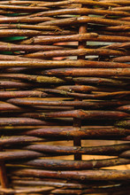 Organic Woven Willow Wicker Fence Panel Suitable For Crafts, Picnic Or Gardening Background.