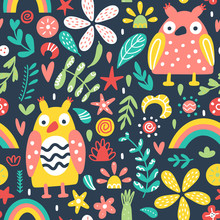 Cute Background With Owls And Flowers