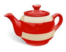 Realistic Ceramic Teapot. Red ...