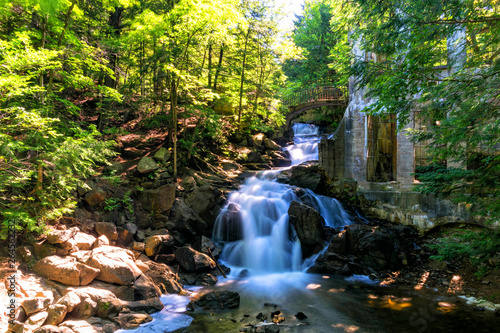 Printed kitchen splashbacks Forest river waterfall by ruins