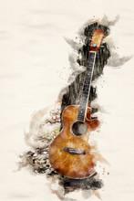 Guitar Leaning On Tree In Wate...
