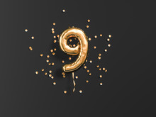 Nine Year Birthday. Number 9 Flying Foil Balloon And Gold Confetti On Black. Nine-year Anniversary Background. 3d Rendering