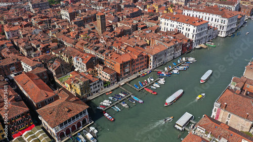 Fototapeta Aerial drone photo of iconic and unique Grand Canal crossing city of Venice as seen from high altitude, Italy obraz na płótnie