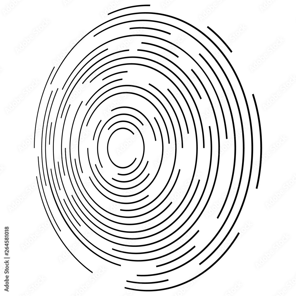 Fototapety, obrazy: Concentric Circle Elements Backgrounds. Abstract circle pattern. Black and white graphics.