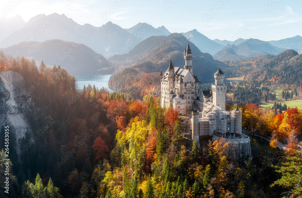 Fototapety, obrazy: Summer Germany. Morning in the Bavarian Mountains. Castle Neuschwanstein in the light of the rising sun. Awesome alpine highlands in sunny day.  Popular Photography Locations. Beautiful of the world