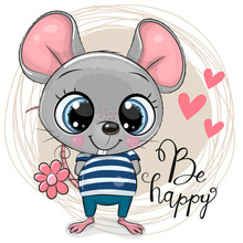 Cute Cartoon Mouse With Flowers