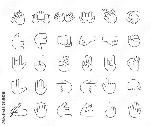 Hand gesture emojis linear icons set Canvas Print