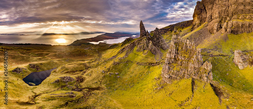 Fotografie, Obraz Aerial view of the Old Man of Storr and the Storr cliffs on the Isle of Skye in