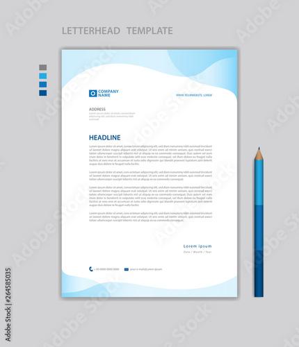 Fototapeta Letterhead template vector, minimalist style, printing design, business template, advertisement, layout, Blue concept background obraz