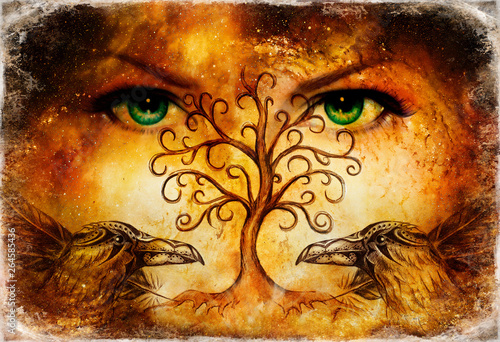 Vászonkép pair of ravens with tree of life symbol and green female goddess eyes on horizon