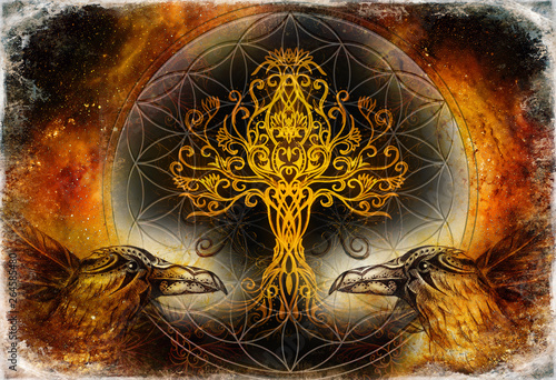 Foto pair of ravens with tree of life and sacred geometry flower of life symbol, space background