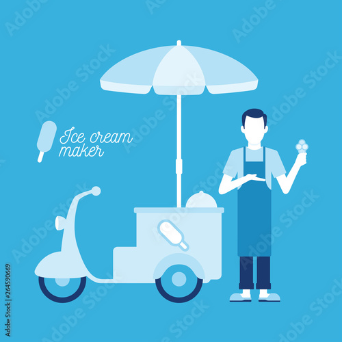 Fotomural Vector ice cream maker with a cart. Blue background