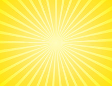 Sunburst Yellow Rays Pattern. Radial Sunburst Ray Background Vector Illustration. Sun Background