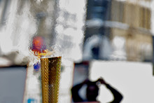Closeup Of Olympic Torch Durin...