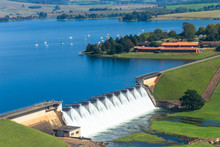 Flying Photo Dam Wall Water Flow Boats Landscape