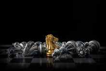 Chess (knight Wins The Game) On Black Background. Success, Business Strategy, Victory, Win, Winner, Tactics, Defeat, Beat, Knock Or Checkmate Concept.