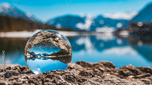 Foto op Canvas Pool Crystal ball alpine landscape shot at the famous Piller lake-Tyrol-Austria