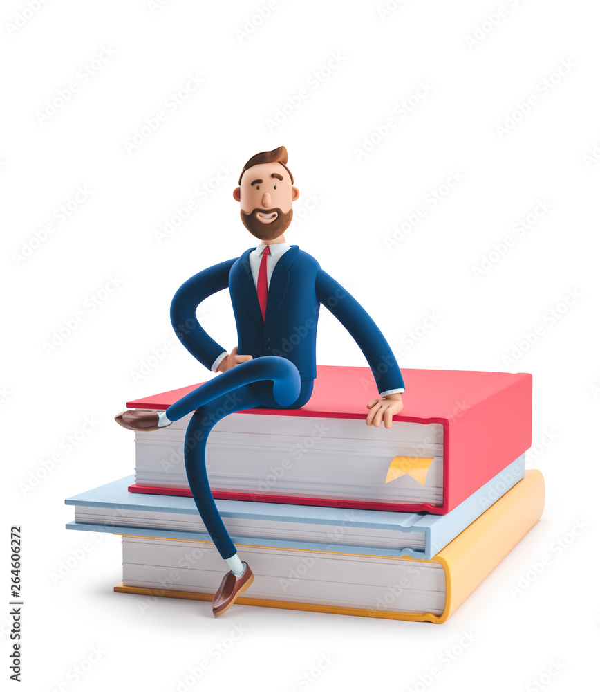 Fototapeta Handsome beard businessman Billy is sitting on a stack of books. The concept of business education.