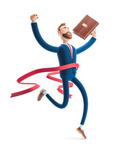 3d Illustration. Businessman Billy Winning The Competition. Successful Businessman