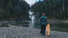 Girl And Dog Seeing Falls