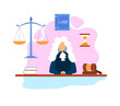 Magistrate in Courtroom Flat Vector Illustration