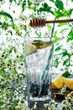 Closeup of summer blueberry lemonade in a glass with paper straw and pouring syrup in front of leaves and flowers, selective focus