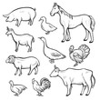 Farm animal drawing set, domestic and agriculture symbol