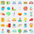 Digital working icons set. Cartoon style of 36 digital working vector icons for web for any design