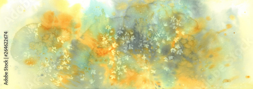 Foto  White sakura flower blossom on a yellow background watercolor.