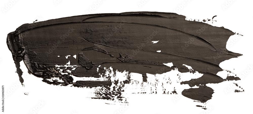Fototapety, obrazy: Black oil texture paint stain brush stroke isolated on white background.