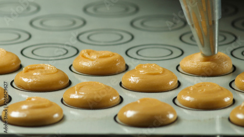 Foto auf AluDibond Macarons Process of making macaron macaroon, squeezing the dough form cooking bag. Food industry, mass or volume production
