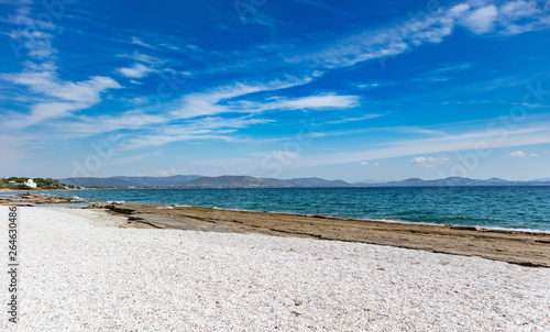 Greece, Attica. Blue sky, calm sea water, Mati beach Canvas Print