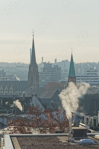 Canvas Prints Light pink Frankfurt panoramic aerial view in winter morning