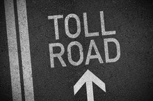 Black And White Illustration Of Asphalt With Arrow And Toll Road