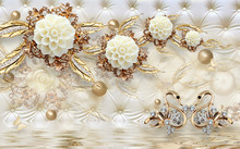 Background With Pearls Gold Wall Floral Dessign