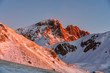 Italy, Abruzzo, Gran Sasso and Monti della Laga Park, Campo Imperatore, Corno Grande mountain at sunrise in winter