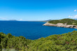 Landscape with small greek islands and bays of Navarino on Peloponnese, Greece, summer vacation destination, eco tourism