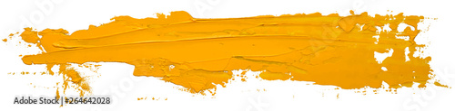 Photo sur Toile Forme Yellow oil texture paint stain brush stroke isolated on white background EPS10 vector illustration.
