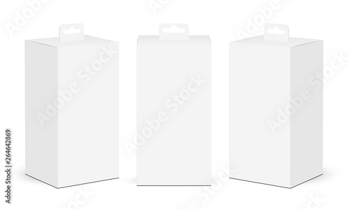 Fotografía  Cardboard rectangular boxes with hang tab isolated on white background