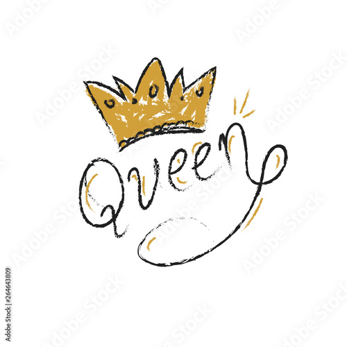 Fotografia Queen letter typography hand drawn doodle style hand writing