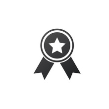 Award Icon With Star In The Middle. Vector Illustration Isolated On White Background