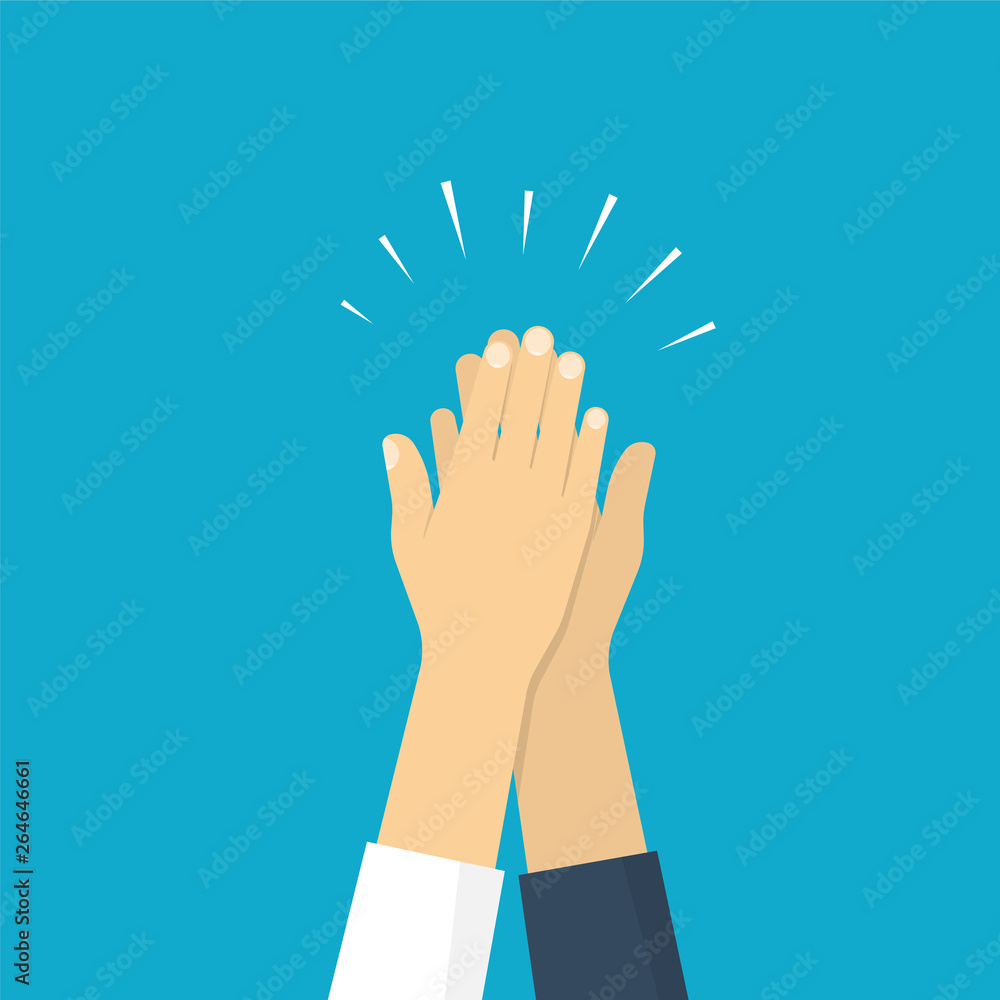 Fototapeta Two hands giving a high five, illustration of friendship. Vector illustration in flat style