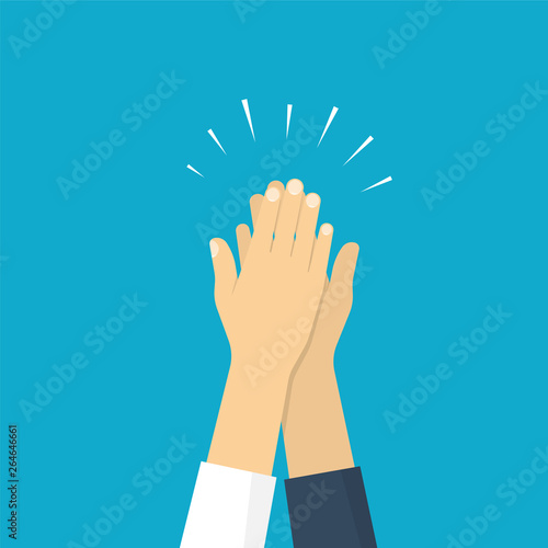 Obraz Two hands giving a high five, illustration of friendship. Vector illustration in flat style - fototapety do salonu