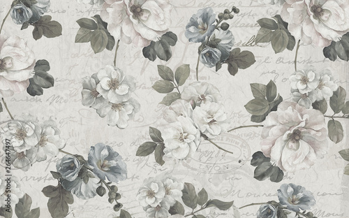 Montage in der Fensternische Vintage Blumen 3d absract wallpaper design