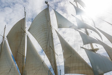 Open Sails Of The Clipper Boat