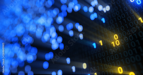 Photo Stands Eggplant Big data cloud computing internet of things IOT AI network technology. Data center digital code futuristic information technology. 3D rendering